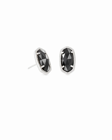 Ellie Silver Stud Earrings In Black