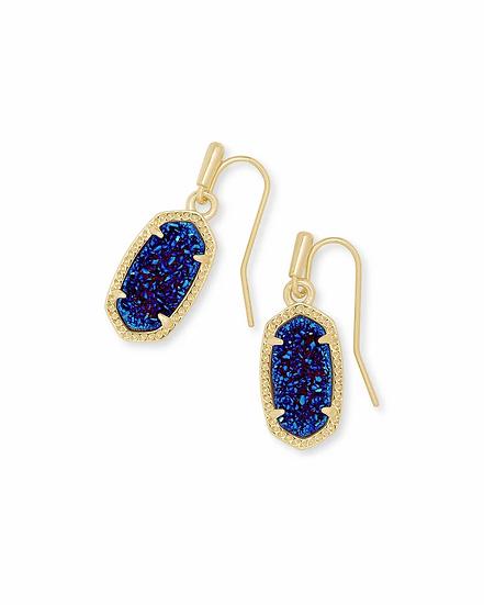 Lee Gold Drop Earrings In Indigo Blue Drusy