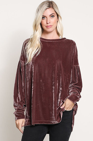 Cozy Confessions Velvet  Long Sleeve Top - Midnight