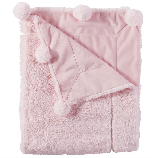 Pink Plush Pom Pom Blanket