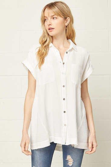 Back To Basics Off White Button Up Top