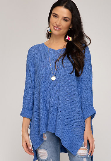 Reasons To Fall Hi Low Knit Sweater - Diva Blue