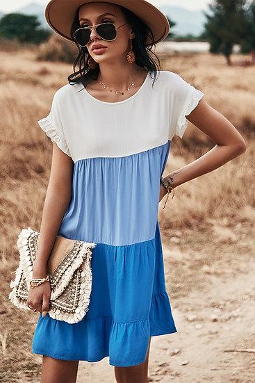 Beyond Beauty Blue Colorblock Dress