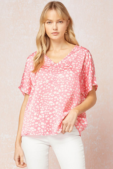 Tell Me Everything Fuchsia Pink Spotted Top