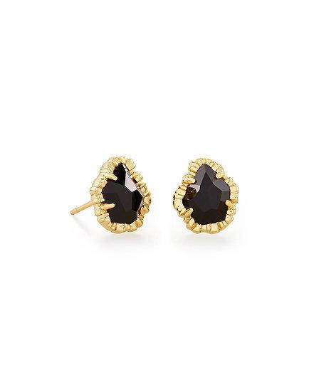Tessa Gold Small Stud Earring In Black Obsidian