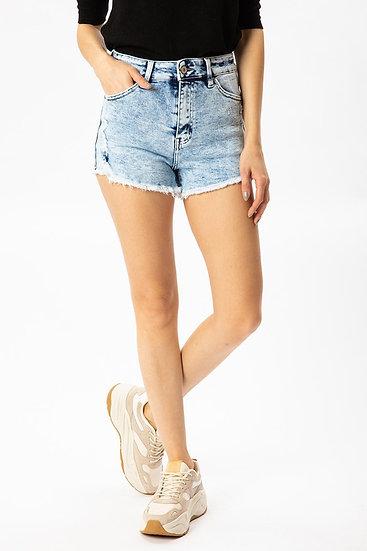 Stick Around Light Wash Distressed High Rise Shorts (Kancan)