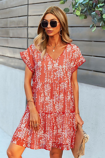 On Your Time Red Floral Dress