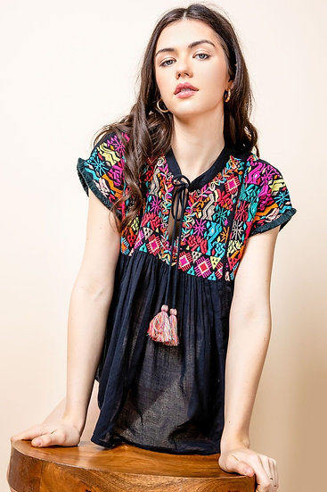 Works For Me Black Embroidered Tassel Tie Top