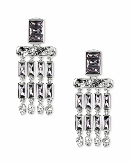 Jack Silver Small Statement Earrings In Charcoal Gray Crystal
