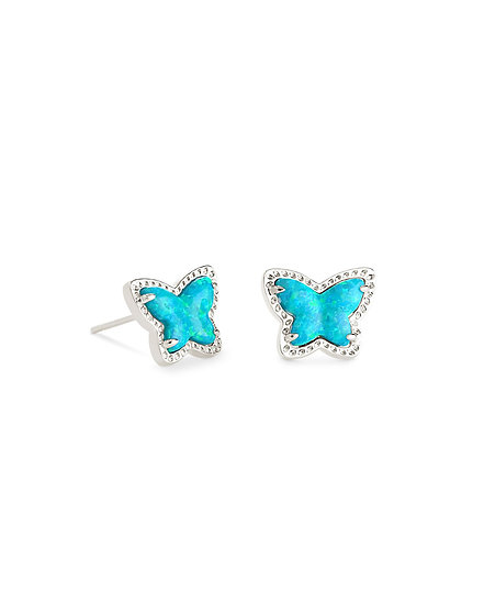 Lillia Butterfly Stud Earring In Rhodium Turquoise Opal