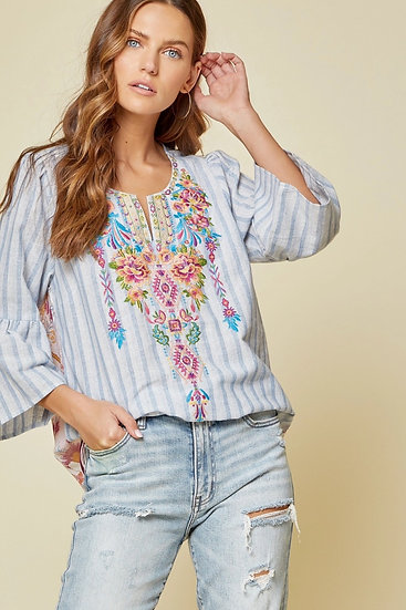 Music To My Ears Denim Embroidered Top