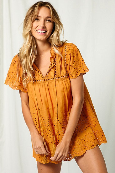 Before It's Over Camel Eyelet Top