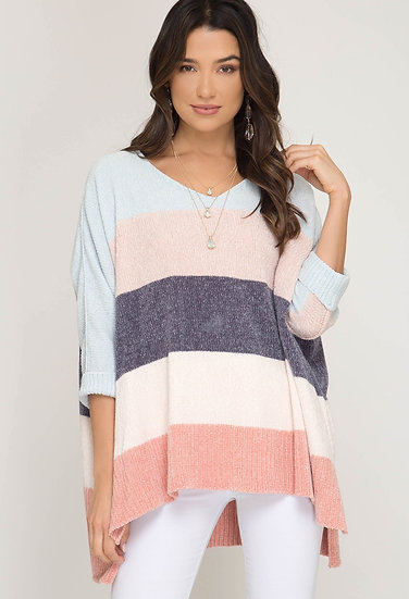 Albany Colorblock Chenille Sweater - Light Blue/ Peach