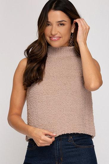Cuddle Weather Knit Turtleneck Sleeveless Sweater - Taupe