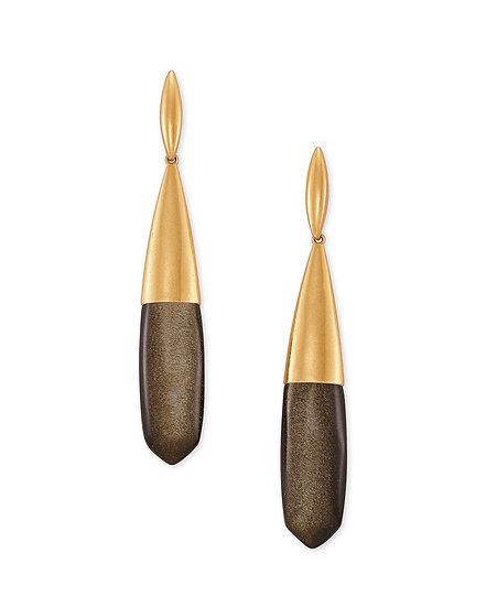 Freida Vintage Gold Linear Earrings In Golden Obsidian