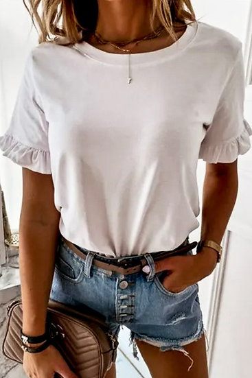 Darling Detail White Ruffle Sleeve Top