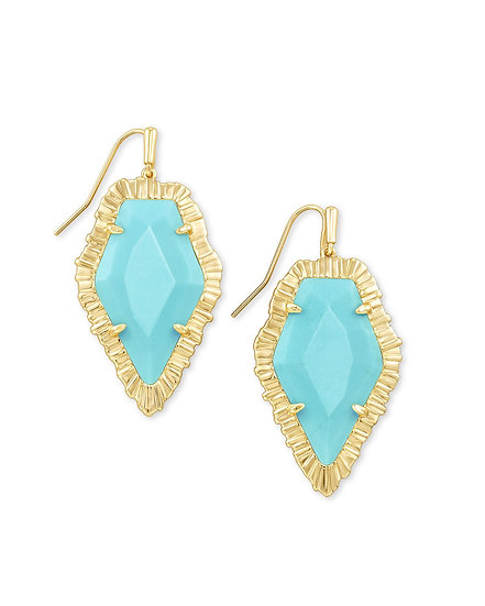 Tessa Gold Drop Earring In Light Blue Magnesite