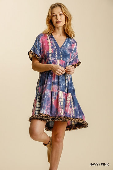 Keep Your Cool Navy/Pink Tie Dye Dress