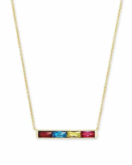 Jack Gold Pendant Necklace In Multi Crystal