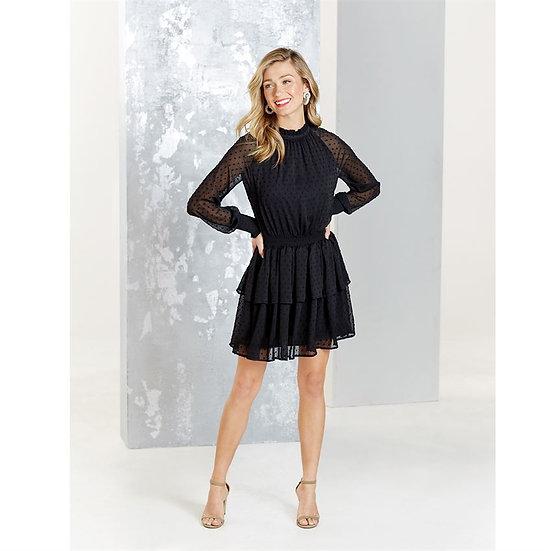 Black Swiss Smocked Dress