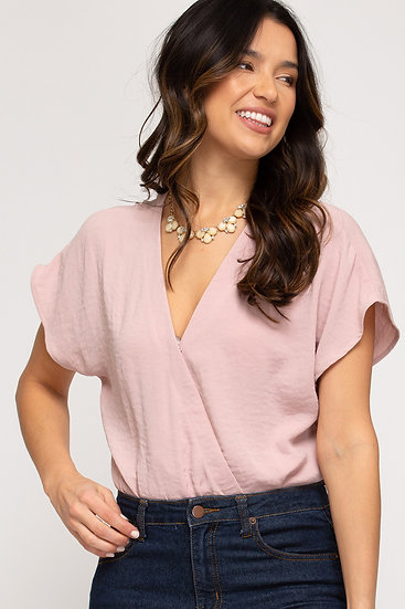 All The Attention Rose Pleated Bodysuit