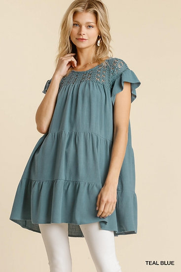 Record Beauty Teal Blue Crochet Tunic Dress