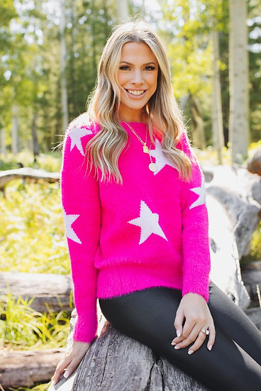 Spears Fuzzy Sweater - Pink