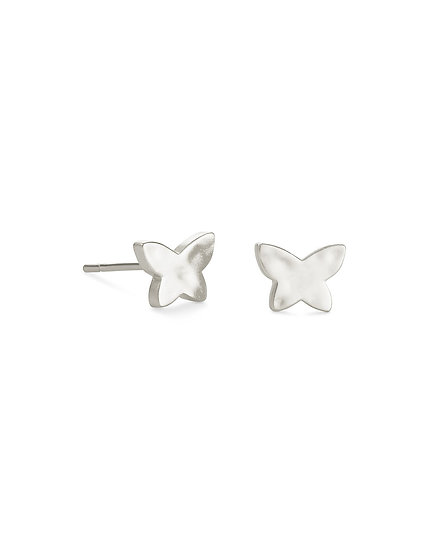 Lillia Butterfly Stud Earring In Rhod Metal