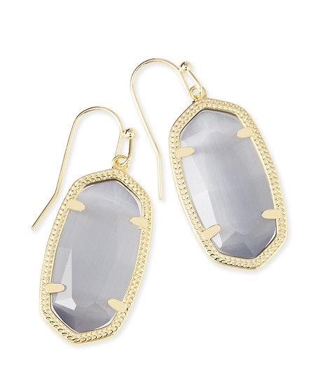 Dani Gold Drop Earrings In Slate Cats Eye