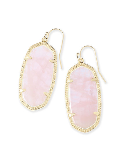 Elle Gold Drop Earrings In Rose Quartz
