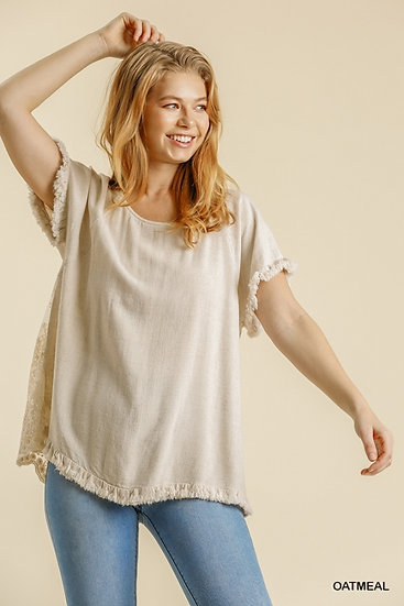 Divine Details Oatmeal Lace Party In The Back Top