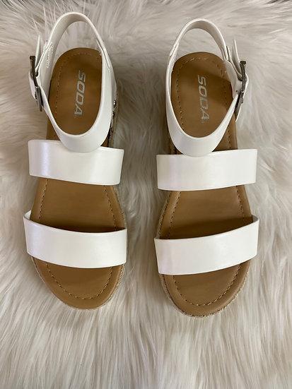 The Larissa Platform Sandals In White