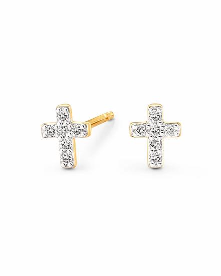 Cross 14k Yellow Gold Stud Earrings In White Diamond