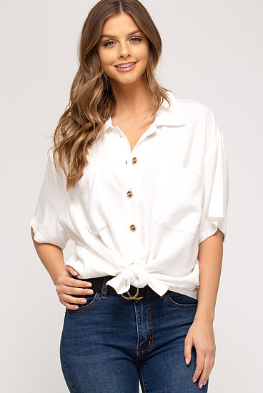 See You Tonight White Button Down Top