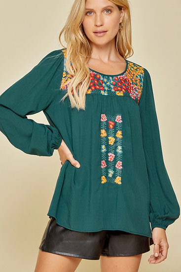 Effortless Success Embroidered Top - Teal