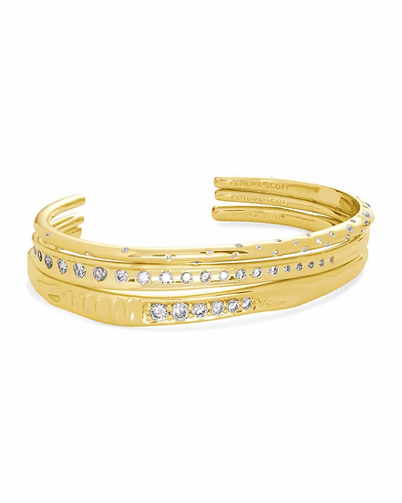 Selena Cuff Bracelet Set Of 3 In Gold