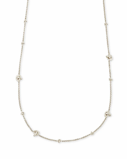 Presleigh Love Knot Adjustable Necklace In Bright Silver