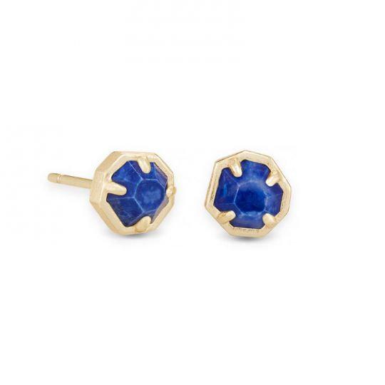 Nola Gold Stud Earrings In Cobalt Howlite