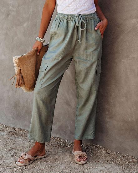 Driven Linen Blend Pocketed Cargo Pants - Olive