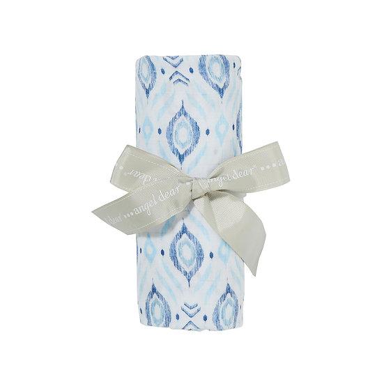 Ikat Blue Swaddle Blanket