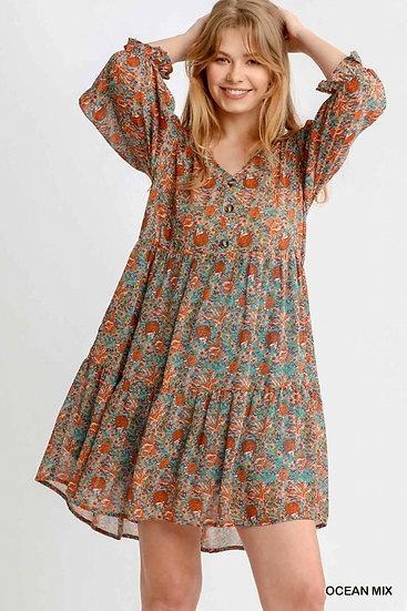 Boho Summer Ocean Mix Floral Dress