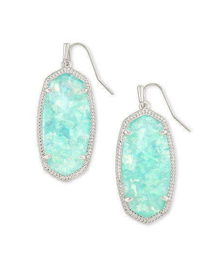 Elle Silver Drop Earrings In Iridescent Mint Illusion
