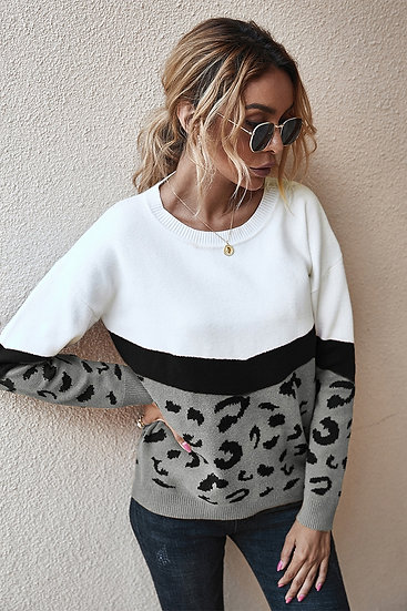 Quick Fix Leopard Sweater - Grey