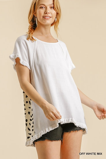 One More Time Oatmeal White Linen Top