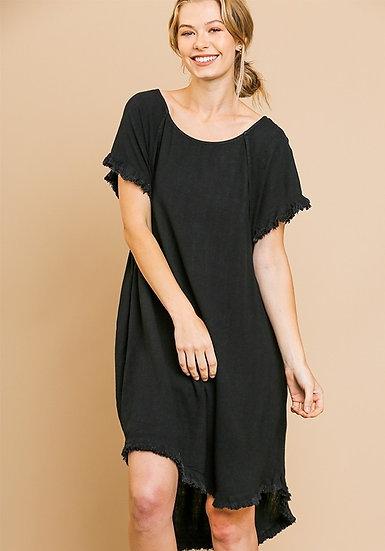 Give Your Love Black Raw Hem Dress