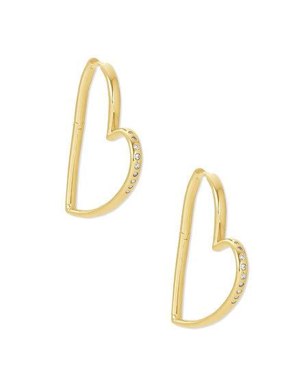 Ansley Hoop Earring Gold Metal White CZ
