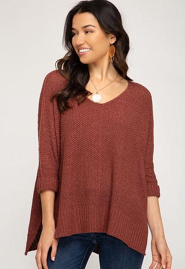 Reasons To Fall Hi Low Knit Sweater - Cinnamon