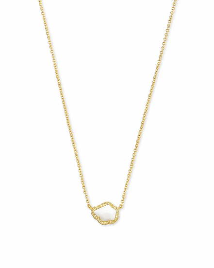 Tessa Gold Small Pendant Necklace In White Mussel