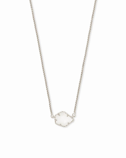Tess Silver Small Pendant Necklace In White Pearl