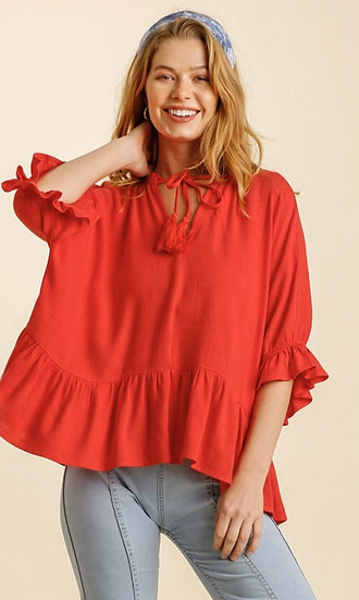 Make You Better Tomato Red Tiered Top